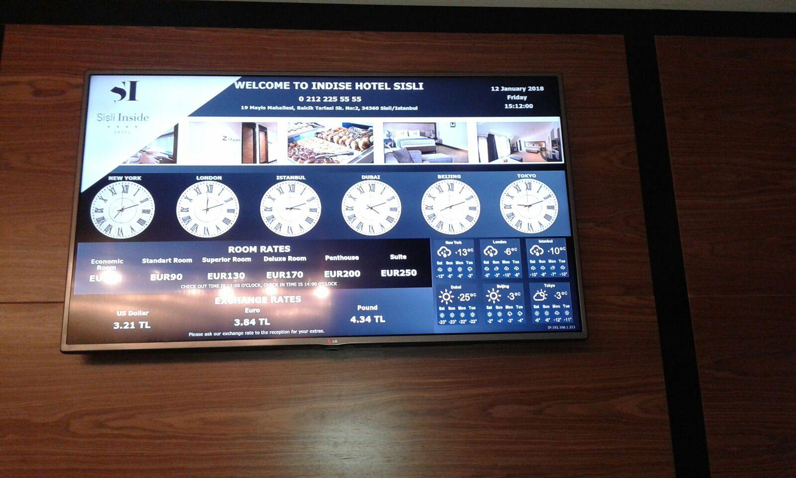 hotel saati, hotel döviz kuru tabelası, hotel hava durumu ekranı, hotel oda fiyat tabelası