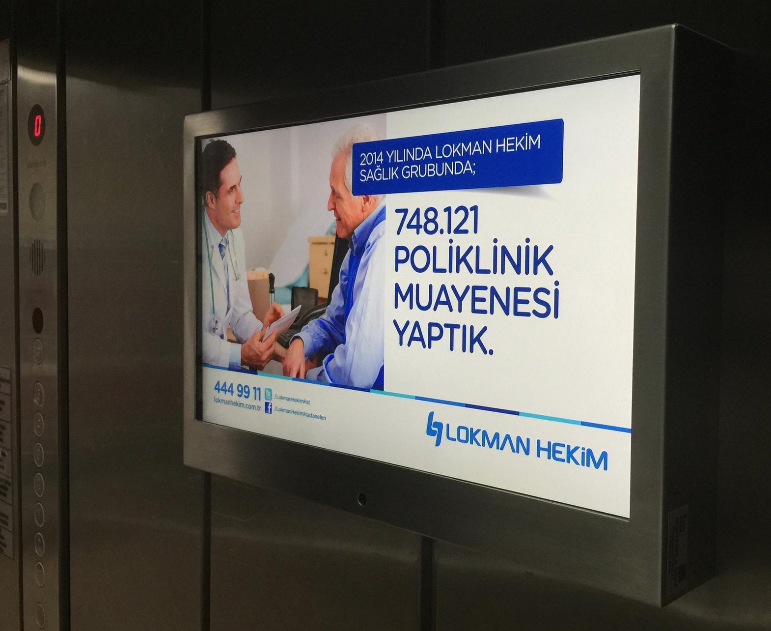 asansör içi bilgilendirme ekranı
